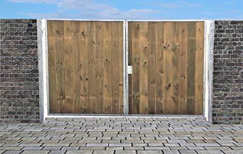 Elektrisches Einfahrtstor Ss Tor Holztor Gartentor Hoftor Verzinkt mit Pfosten Holzfüllung 2-flügelig 450cm x 160cm