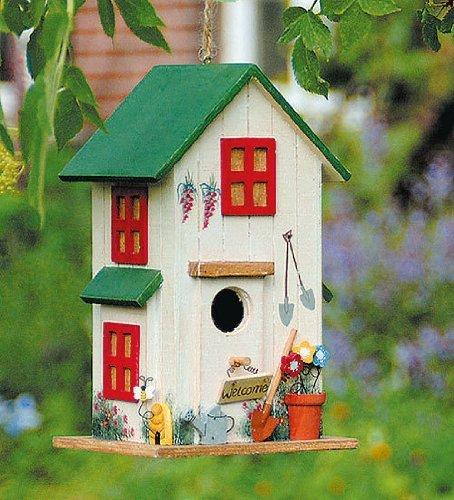 Vogelhaus Vogelhäuschen Grün Nistkasten Holz Deko H26cm