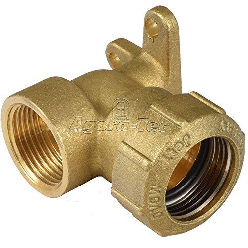 Agora-Tec Messing Fitting Winkel 90 Grad 32 mm auf 1 Zoll IG 303mm für PE-Rohr 32 mm zur Wandmontage