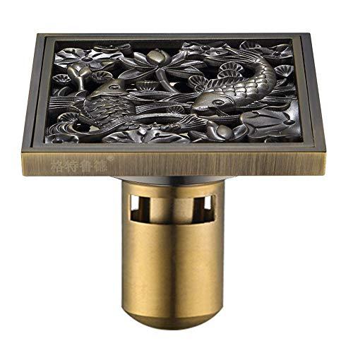 YYROP dusche Drainage Bronze Farbe Kupfer Deodorant bodenablauf Chinesischen Stil Geschnitzte Muster Waschmaschine Anti-blockierung antiken bodenablauf 10  10 cm O