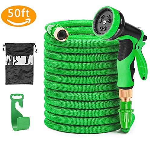 Soar Flexibler Gartenschlauch 15M 50FT Auslaufsicheres Design FlexiSchlauch Dehnbar 9 Funktion mit Aufhänger für Bewässerung Gartenarbeit Autowäsche Reinigung