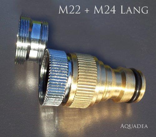 Gardena kompatibles Steck System 12 Zoll IG mit Adapter M22 IG  M24 AG Lang stabile schöne Metall Ausführung zum Anschluß eines Gartenschlauchs an einen Wasserhahn mit Perlstrahler Außengewinde M22 oder IG M24 - für Indoor-Wasserhähne