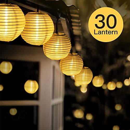 FYLINA Warmweiß Solar Lichterkette Lampion65m 30 LED Solar Outdoor Laterne