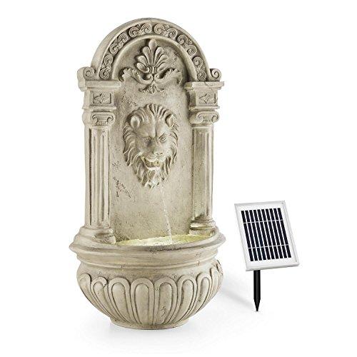 blumfeldt Löwenstein • Wandbrunnen • Gartenbrunnen • Zierbrunnen • Deko-Brunnen • Solarpanel • Akku 2000 mAh • antik • Löwenkopf • LED-Beleuchtung • Dämmerungssensor • Naturstein-Optik • grau
