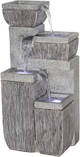 dobar Großer Design Garten-Brunnen mit Pumpe und LED´s Polyresin grau steingrau 387 x 323 x 803 cm 96130e