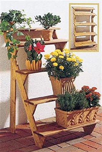 Gaspo Holz Blumentreppe Blumenregal Blumenbank Pfanztreppe 5-stufig