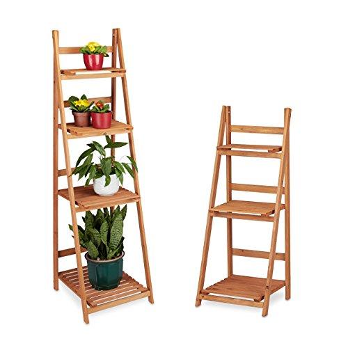 2 tlg Blumentreppen Set Blumenständer für Innen Mehrstöckig Leiterregal Pflanzentreppe Pflanzenregal Holz braun