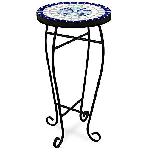 Deuba Mosaiktisch Neptun Tisch Blumenständer Blau - Beistelltisch Balkontisch Blumenhocker Blumen