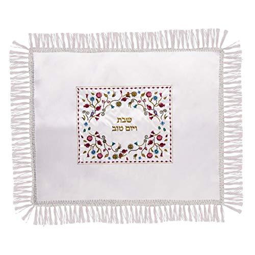 Judaica Satin Shabat Vorderrad TOV Tisch Blumen bestickt Challah Bordüre Spitze Deckel 42 52 cm