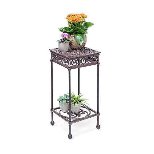 Relaxdays Blumenhocker quadratisch Größe M aus Gusseisen HBT ca 505 x 24 x 24 cm Blumenständer mit 2 Ablagen Beistelltisch für Blumen und Dekoration in Haus und Garten Hocker für Pflanzen bronze