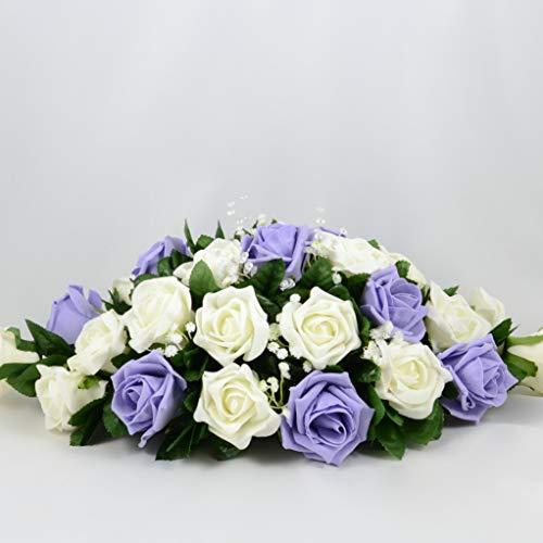 Seide Hochzeit Blumen Handarbeit von Petals Polly Top Tisch Arrangement CremefarbenElfenbeinfarbenlila