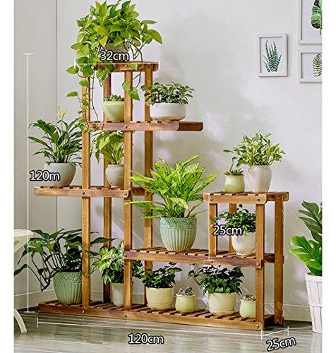 MLFiower racks Blumentreppen Indoor Outdoor mehrschichtige Blume Rahmen einfach und Boden Stil echtholz Blume Regal einfache Moderne Stil blumentreppen