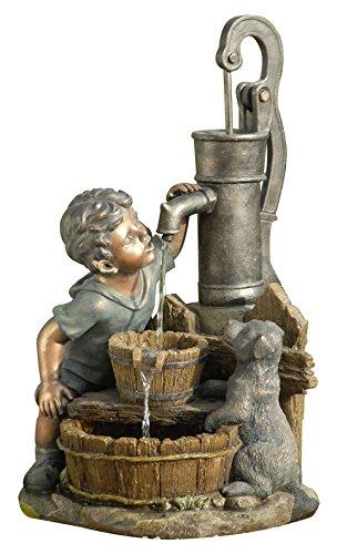 Dehner Polyresin Brunnen Junge mit LED Beleuchtung ca 685 x 37 x 39 cm 8 kg