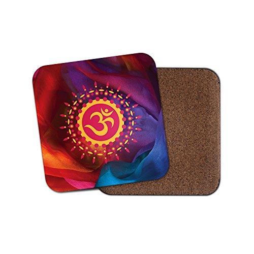 Om Symbol Hindu Kork Getränke Untersetzer für Tee Kaffee  4123 holz 4 Coaster