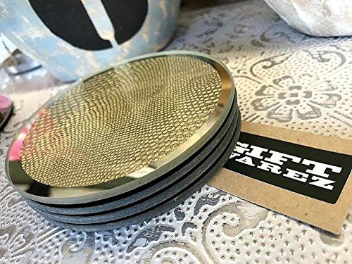 S4 Vintage Gold texturiert verspiegelt Glas Getränke Wein Kaffeetasse Tischsets Untersetzer