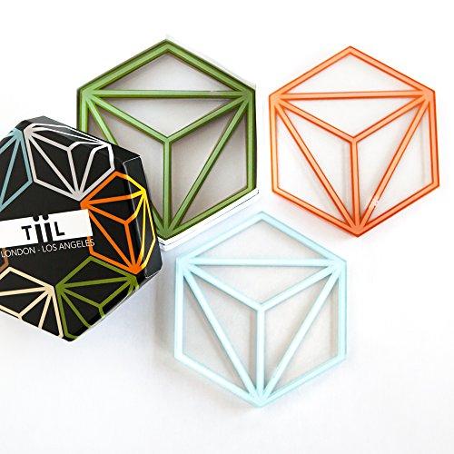 Sechseckige Getränke-Untersetzer von TiiL Set aus 6 Untersetzern plus Geschenkbox Prism