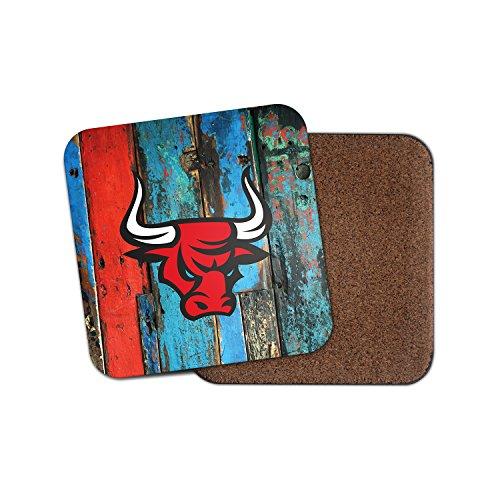 Angry Red Spanisch Bull Kork Getränke Untersetzer für Tee Kaffee  4159 holz 4 Coaster