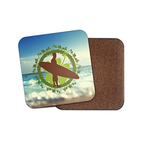 Surf Hibiskus Blume Surfer Hound Kork Getränke Untersetzer für Tee Kaffee  4082 holz 4 Coaster