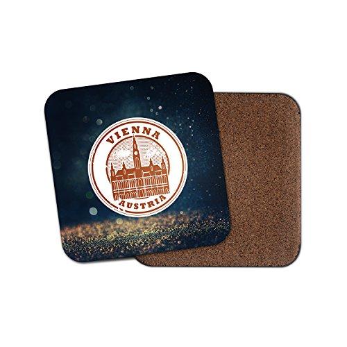 Wien Österreich Kork Getränke Untersetzer für Tee Kaffee  4228 holz 2 Coaster