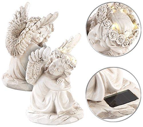Lunartec Engel 2 schlafende Solar-LED-Schutzengel-Figuren 17 cm für innen außen Grablicht