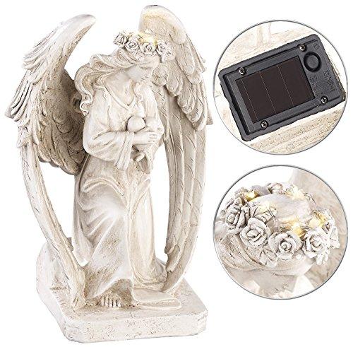 Lunartec Solar Engel Kniende Solar-LED-Schutzengel-Figur 245 cm für innen außen Grablicht