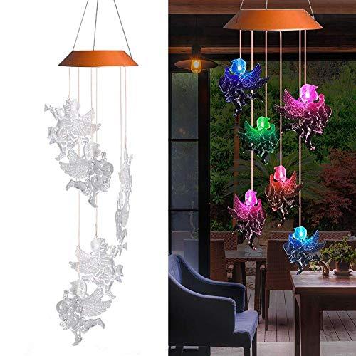 Waroomss LED Solar Windspiel Farbwechsel Wasserdicht Sechs Engel Puppen Solar Mobile Wind Chimes Für IndoorOutdoor Home Party Nacht Garten Dekoration