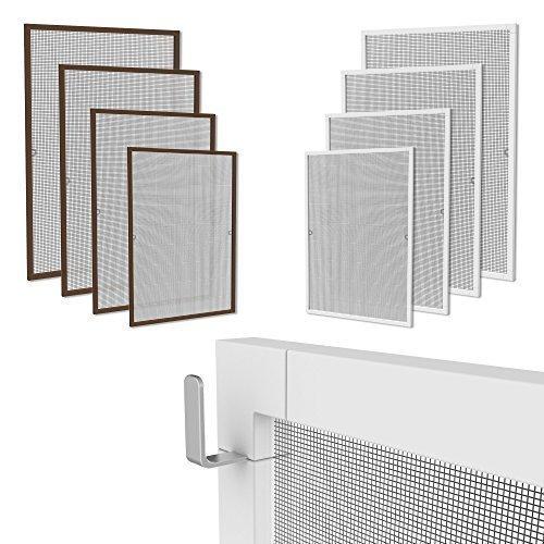 Klemmfix Fliegennetz Fenster Aluminium Rahmen Weiss Größe 120cm140cm Fliegengitter OHNE Bohren Insektenschutz Gitter Fiberglas