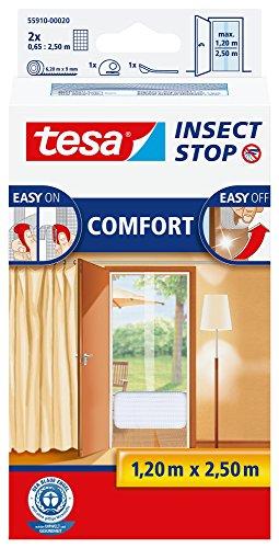 tesa Insect Stop COMFORT Fliegengitter für Türen  Insektenschutz mit selbstklebendem Klettband in Weiß  2 x 65 cm x 250 cm