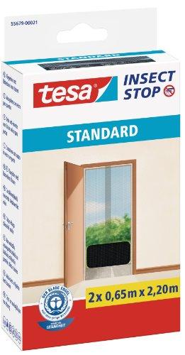 tesa Insect Stop STANDARD Fliegengitter für Türen - 2-tlg Insektenschutz Tür mit Klettband - Fliegen Netz ohne Bohren - Anthrazit 2 x 65 cm x 220 cm