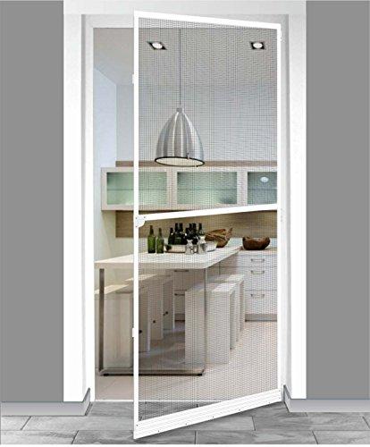 1PLUS Standard Insektenschutz Fliegengitter Aluminium Spannrahmensystem für Balkontüren Terrassentüren individuell kürzbar 100 x 210 cm weiß
