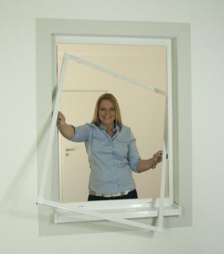 Insektenschutz Alu Rahmen System Profi für Fenster 100 x 120cm weiß - kürzbar 3er Sparset