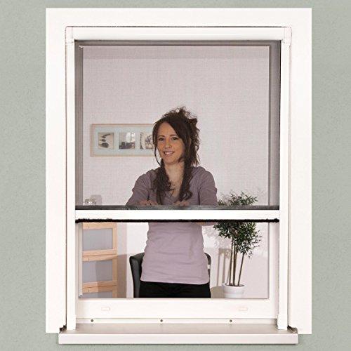 Insektenschutz Fenster Rollo 100 x 160 cm weiß Alu-Bausatz Klemmrollo  Fiberglasgewebe kürzbar ohne Bohren stufenlos arretierbar