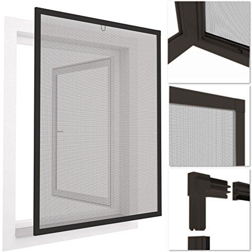 easy life INSEKTENSCHUTZ FENSTER easyLINE 130 x 150 cm grau ALU Rahmen - weitere Größen und Farben wählbar