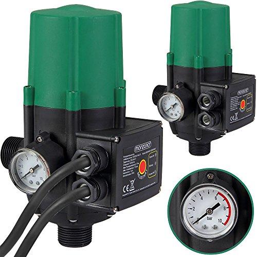 Monzana Pumpensteuerung mit Baranzeige Druckwächter Elektronische Pumpensteuerung - Druckschalter - mit Kabel - 10 bar - überwacht den Wasserdruck - automatisches Ein- und Ausschalten