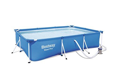 Bestway Steel Pro Frame Pool Set rechteckig mit Kartuschenfilterpumpe 300x201x66 cm blau