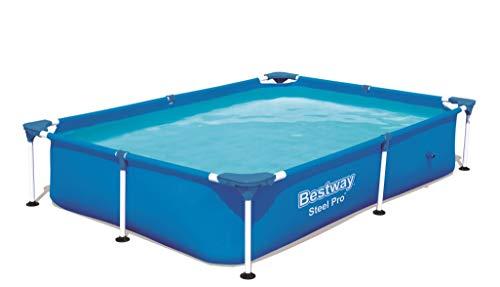 Bestway Steel Pro Frame Pool ohne Pumpe viereckig 221x150x43 cm Stahlrahmenpool blau