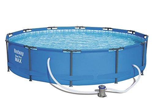 Bestway Steel Pro MAX Frame Pool Set rund 366x76 cm Stahlrahmenpool-Set mit Filterpumpe blau