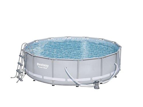 Bestway Power Steel Frame Pool Komplettset rund grau 427 x 107 cm