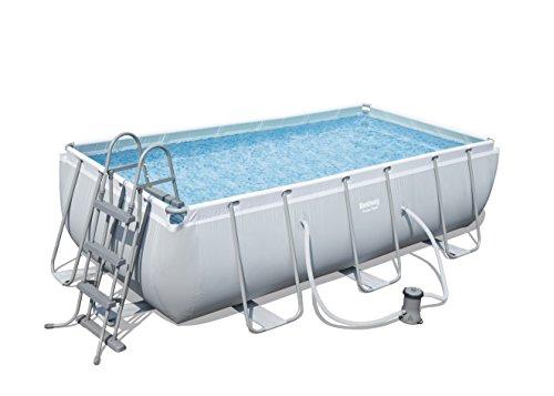 Bestway Power Steel Frame Pool Set  mit Kartuschenfilterpumpe viereckig grau 404 x 201 x 100 cm
