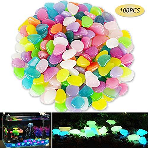 Sumyer Glow in The Dark Kieselsteine Leuchtende Kieselsteine Glow Stones Künstliche Farbige für Aquarium Aquarium Landschaftsbau Kies Kiesel Dekorationen Schwimmbad und Gehwege 100 Stück