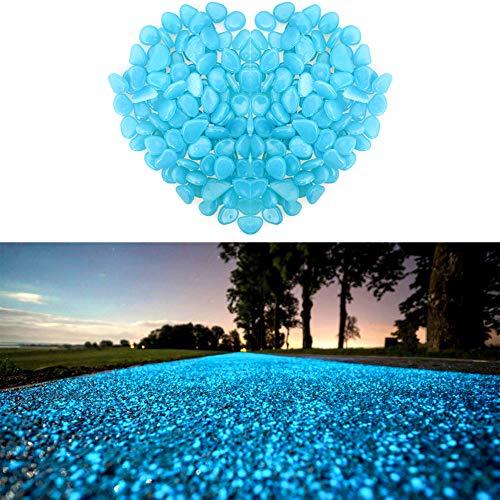Wiewish 100er Leuchtsteine Leuchtende Kieselsteine künstliche Dekostein Floureszierende Pebble für Aquarium Garten Gehweg Dekoration