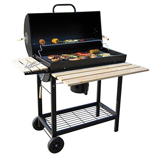 BBQ-Toro Holzkohle Grillwagen  Premium Holzkohlegrillwagen Smoker Barbecue Grill mit Deckel Warmhalterrost abklappbarer Ablage und vielem mehr