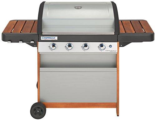 Campingaz Gasgrill 4 Series Woody LX BBQ Grillwagen aus Holz mit 4 Edelstahlbrennern Standgrill mit Deckel und Thermometer InstaClean Reinigungssystem und Culinary Modular System
