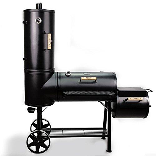 TAINO Chief 130 XXL Smoker 130kg BBQ GRILLWAGEN Holzkohle Grillkamin 35 mm Stahl Profi-QUALITÄT Räucherofen 130 kg Smoker