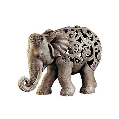 Design Toscano Anjan der Elefant indische Deko Jali Tierstatue 305 cm Gotischer Stein