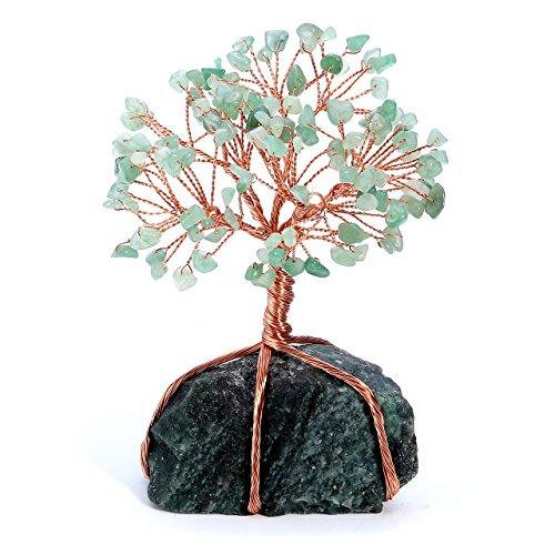 QGEM Edelstein Baum des Lebens Dekoration Wire Wrap Trommelsteine Lebensbaum Feng Shui Geldbaum Glückbaum mit Aventurin Basis Tisch Büro DekoAventurin