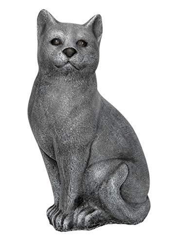 Steinfigur Katze groß - Schiefergrau Garten Deko Stein Figur Frostsicher