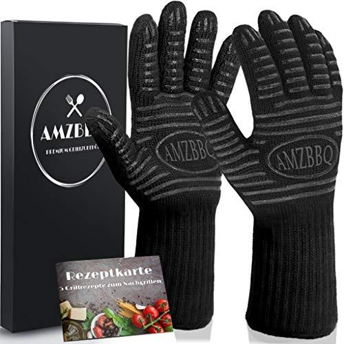AMZBBQ Premium Grillhandschuhe Hitzebeständige Ofenhandschuhe bis 500 Grad Extra Lange Backofenhandschuhe Hitzeschutzhandschuhe für Küche Grill Feuerfeste Kaminhandschuhe in Größe XL