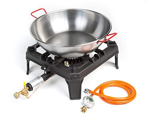 4 Fuss Hockerkocher - Gaskocher 88 KW mit Zündsicherung  Stahlpfanne 40 cm  Gasschlauch und Druckminderer Gusseisen Wokbrenner Asia Kocher Gastrokocher Gasherd Campingkocher für Wok