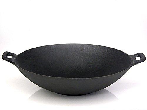 Santos Wok XXL aus Gusseisen für Gasgrill oder Kohlegrill  Durchmesser 36 cm